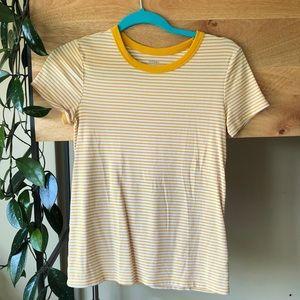 Striped tee shirt.